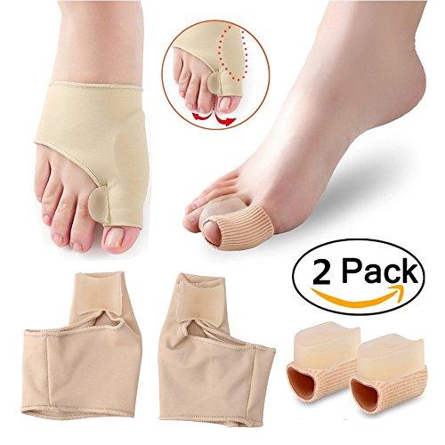 Bunion pads alluce valgo correttore per dita dei piedi alluce valgo gel pad spandex bunion toe reinforcers spargitore con silicone correttore professionale separatore alluce (confezione da 2)