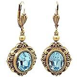 Jugendstil Ohrringe mit Kristalle von Swarovski® Gold Blau NOBEL SCHMUCK