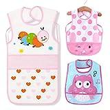 3 Pack Baby lätzchen Wasserdicht Lätzchen mit auffangschale - Essen und Play Smock Schürze für Kleinkinder für 6-36 Monate Kinder