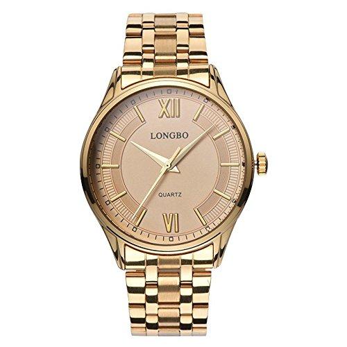 BIAOSHOU® Reloj Cuarzo Impermeable Casual Rosa Banda Los Hombres Reloj De Oro De Acero Inoxidable , B