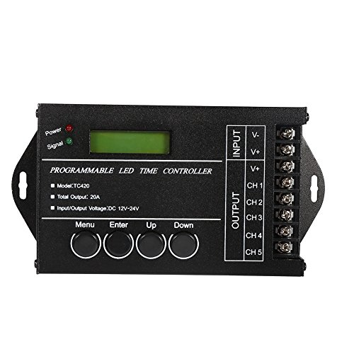 DC12 V 24 V 20 A Regler programmierbar Zeit LED Dimmer mehrzweckgeräte Regler des Zeit des Kanal-5 Kanäle für RGB RGBW Dual Farbe nur Licht des LED-Zähler, schwarz