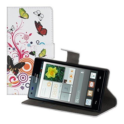 kwmobile Hülle für Huawei Ascend P7 Mini - Wallet Case Handy Schutzhülle Kunstleder - Handycover Klapphülle mit Kartenfach und Ständer Schmetterlinge Hippie Design Mehrfarbig Pink Weiß