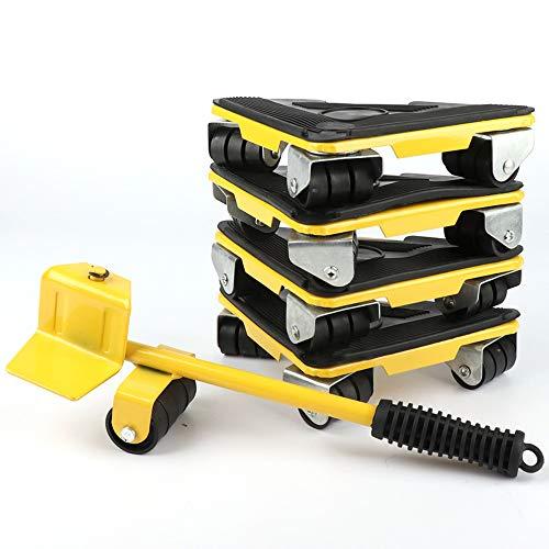 GSYYSZD Schwerlastmöbel Shifter, (5 teilig) Durable schwere Möbelheber bewegten Werkzeug, maximale entfernbare 300KG Heavy Duty Möbelrolle (gelb)
