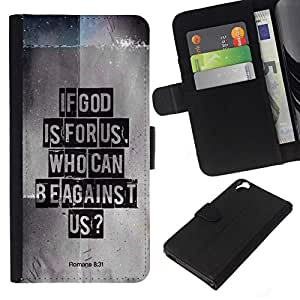 Leder Brieftasche Hülle Schutzhülle HandyHülle für Mobiltelefon Leather Wallet Case for HTC Desire 820 / CECELL Phone case / / BIBEL Wenn Gott für uns ist. Wer gegen uns Römer 08.31 Schreiben /