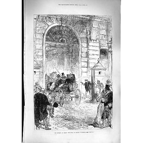 TRASPORTO 1880 DI RE SPAGNA MADRID DEL TIRO DI TENTATIVO DI SCENA - Scena Tiro