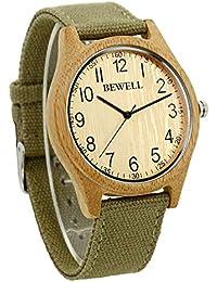 BEWELL madera hombres reloj de pulsera de cuarzo análogo del movimiento del bambú lienzo correa W124B