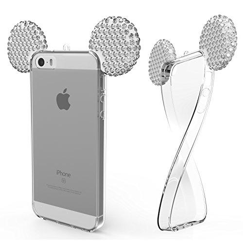 Urcover® Apple iPhone SE / 5 / 5s Handyhülle Maus Ohren Bling Ear Schutzhülle Case Cover Etui Crystal Bär Maus Ohren Girl TPU Diamant Silber Crystal Bling Case Cover
