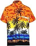 LA LEELA Hawaiian Shirt Short Sleeve STAG Beach Holiday Palm Tree Fancy Dress Hawaii