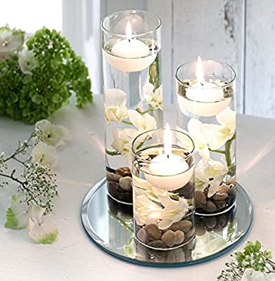 Set of x3 Floating Candles Artificial Flowers Mirrored Base Pebbles - WHITE