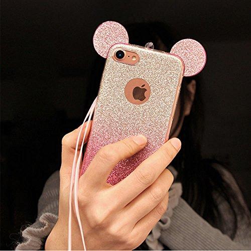 Sycode Glitzer Hülle für iPhone 6S / 6,3D Hülle für iPhone 6,Fashion Bling Glitzer Ultra Dünne TPU Silikon 2 in 1 Gradient Farbe Transparent Bumper Schutzhülle mit 3D Cartoon Maus Ohr Entwurf Ultra Le Maus Ohr-Rosa