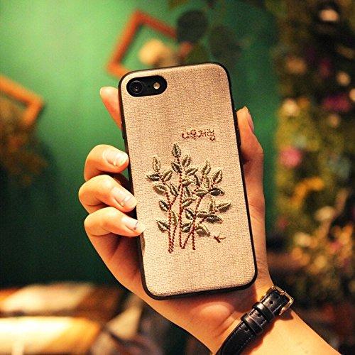 HuaYuannewcover Für iPhone 8 & 7 Stoff Retro Mode Stickerei Blume Pflanze Muster kunstvollen Design Schutz Anti-Rutsch-Full Coverage zurück Deckung Fall Protective Cover (Großauswahl : Ip7g3527h)