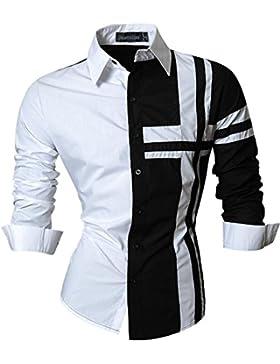 jeansian Uomo Camicie Maniche Lunghe Moda Men Shirts Slim Fit Casual Long Sleves Fashion Z014 Black L