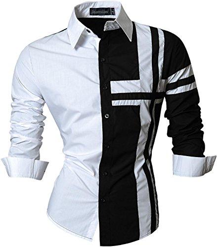 Jeansian uomo camicie maniche lunghe moda men shirts slim fit casual long sleves fashion z014 black m