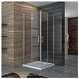 Dusche Duschkabine 90x80cm Eckeinstieg Falttür Duschabtrennung Duschtür Eckdusche Duschwand aus Sicherheitsglas 90x80cm