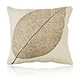 OULII Piazza lino cotone decorativo Throw Pillow cuscino caso copertura foglia decorativo cuscino copertura durevole divano Shabby-chic casa decorazioni