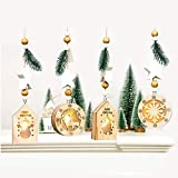 iPenty 4 Stück Weihnachtsdekorativer Anhänger mit hellem Weihnachtsbaum Innovative hölzerne hängende Weihnachtslicht-Brett-Dekoration