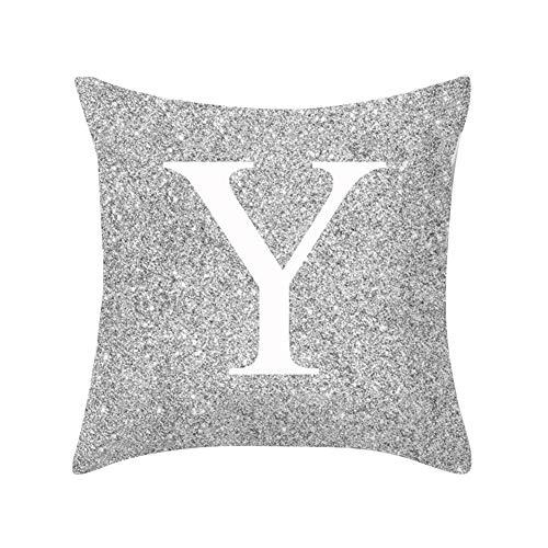 Good01pillow case in metallo argentato lettera peach cashmere, a-z lettere argento metallizzato tiro federa cuscino casa divano letto decor y