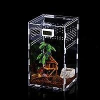 Caja de Alimentación de Insectos, 12x12x20cm Acrílico Transparente Estuche de Cría de Reptiles para Spide, Lagartija, Escorpión, Ciempiés, Rana cornuda, Escarabajo