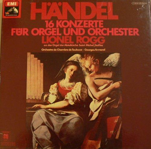H?ndel 16 Konzerte f?r Orgel und Orchester Lionel Rogg. An der Orgel der Abteikirche Saint Michel, gaillac. Orchestre de Chambre de Toulouse. 4 LP Box.
