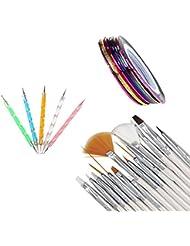 Vovotrade ❤❤30PCS Nail Art Design Dotting Dessin de Peinture Polonais Brush Pen Outil Nail Striping Tape kit d'outils Set