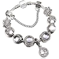 7fe655c3e5f6 QWERST Bracelet Bisutería Encanto Europeo Pulseras Y Brazaletes para Mujeres  Cristal Flor Original Cordones Fino Brazalete