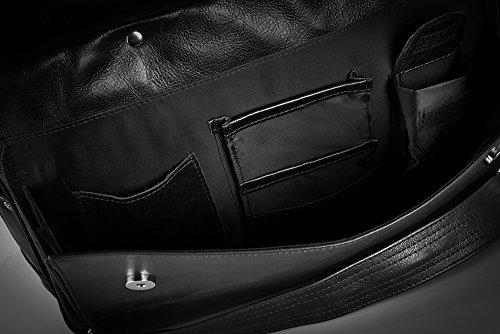 Solier echtes Leder Herren Schulter Laptop Tasche Premium Edynburg SL30 (Schwarz) Schwarz