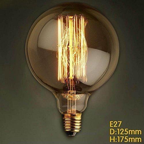 Globe Glühbirnen Watt 60 (KJLARS Vintage Edison Glühbirne Glühlampe E27 60W G125 gerader Draht Globe Lampe Für Retro Nostalgie Industry Style Leuchtmittel)