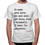thedifferent T-Shirt Uomo Frase George Best I Soldi Sperperati - Bianco