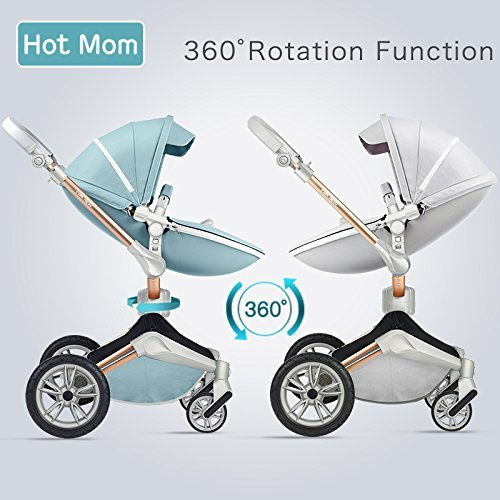 Hot Mom Kombikinderwagen mit Buggy und Babywanne 2018 neues Design (grey)