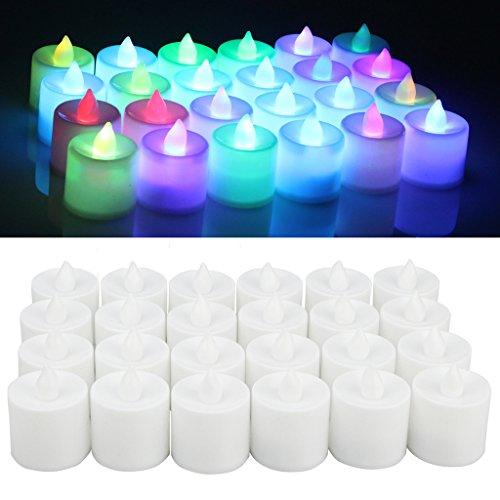 Jayboson 24 pcs Vela Luz LED Candles[Cambio de color] Sin llama Bright Parpadeo 60+ horas Eléctrico Mood LED Candles Tealights Para las decoraciones de la Navidad de la casa