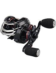 KastKing Royale Legend / Whitemax Low Profile baitcasting Fishing Reel - 11 +1 rodamientos blindados, 17.5 lb de fibra de carbono (Left-Handed(Black))