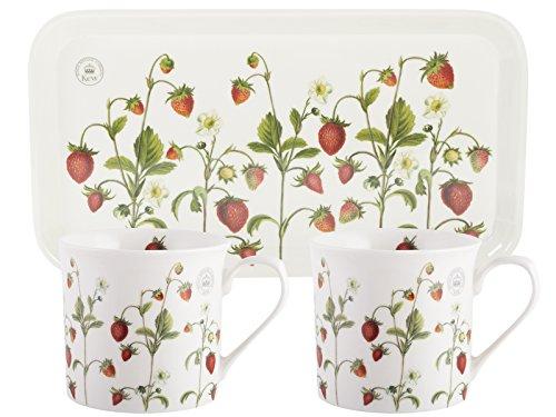 KEW GARDENS Erdbeere Tee-für-Zwei-Geschenk-Set, weiß, 3-teilig Garten Tee-set