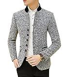 Ouye Gris Clair Stand Collier Blazer Vestes de Costume Homme