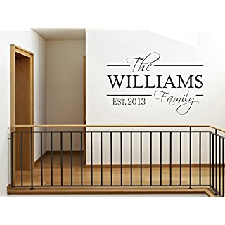 PERSONALISED Family Wall Art Quote & Date, Modern Wall Sticker, Decal, Transfer Black | X-Large(890mm x 570mm) 25