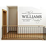 PERSONALISED Family Wall Art Quote & Date, Modern Wall Sticker, Decal, Transfer Black | Large(650mm x 420mm)
