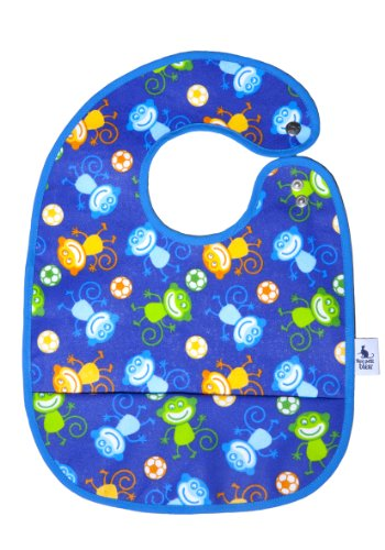 Mon Petit Bleu 5901323929731 Abwaschbares und wasserdichtes Lätzchen mit Auffangtasche - Stay Clean&Cool Bib - 28 x 22 cm - Affen (Bib Baby-cool)