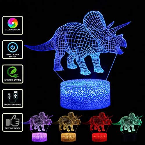 3d Triceratops Luce Notturna Led Dinosauro Illuminato Lampada Casa Camera Da Letto Decorazione Scrivania Ottica Luce Notturna Con 7 Cambio Di Colore