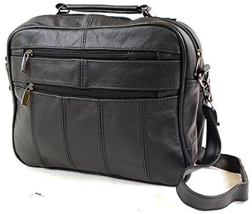 Lorenz - Borsa da viaggio in pelle con tracolla staccabile e tasca per cellulare, colore: Marrone scuro/Marrone chiaro nero