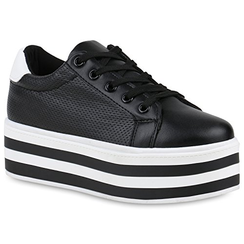 SCARPE VITA Damen Plateau Sneaker Basic Leder-Optik Schuhe Schnürer Turnschuhe 160974 Schwarz 36 (Basic Leder Schuh Casual)