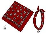 Teichmann Rotes Nickituch im Edelweißdesign mit Edelweiß-Anhänger mit Swarowski Steinen | Halstuch aus 100% Baumwolle | Bandana 60 x 60 cm | Karl