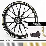 Motoking Felgenrandaufkleber mit Montagetool für Ihr Motorrad in CHROM / 6 mm / für 10