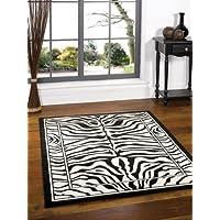 Tappeto rettangolare - Motivo Zebra - Bianco/Nero - dimensioni 160