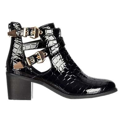 Les dames de Onlineshoe femmes découpes latérales or Boucles Sangles Chelsea Bottines Black Croc Patent UK3 - EU36 - US5 - AU4