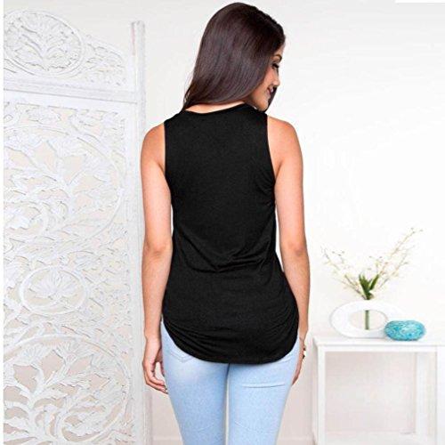 Blusen,WINWINTOM Frauen beiläufige Pullover Shirt Sleeveless Druck Bluse Schwarz