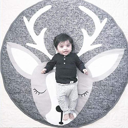 Homieco Cartone animato carino Tappeto rotondo Il bambino ama Gioca al tappetino Sfondo di fotografia di bambino Asilo nido Decorazione della stanza,Renna