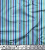 Soimoi Blau Satin Seide Stoff vertikal Streifen Stoff