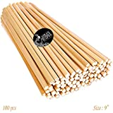 Asian Hobby Crafts Natural Unfinished Round Bamboo Sticks, 9-inch - Pack of 100pcs