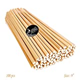 #3: Asian Hobby Crafts Natural Unfinished Round Bamboo Sticks, 9-inch - Pack of 100pcs
