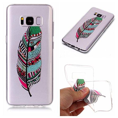 Preisvergleich Produktbild S8 Plus Hülle, Galaxy S8 Plus Hülle, Anlike Samsung Galaxy S8 Plus (6,2 Zoll) Handy Hülle [Bunte Muster Design] Schutzhülle - Farbige Federn