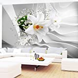 Fototapetenn Blumen 3D Lilien Weiß 352 x 250 cm Vlies Wand Tapete Wohnzimmer Schlafzimmer Büro Flur Dekoration Wandbilder XXL Moderne Wanddeko Flower 100% MADE IN GERMANY - Runa Tapeten 9179011a